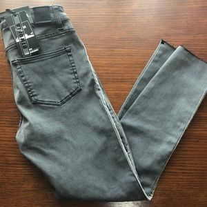 Stretchy Gray Cropped Skinny Jeans